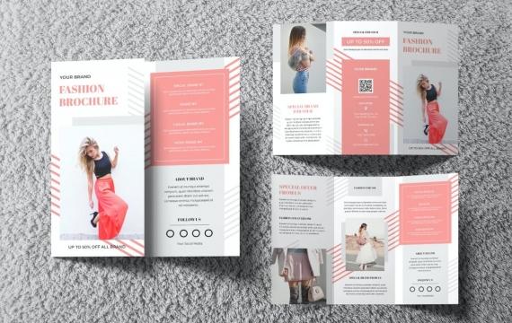时尚灯笼小册子 三折页设计素材模板下载