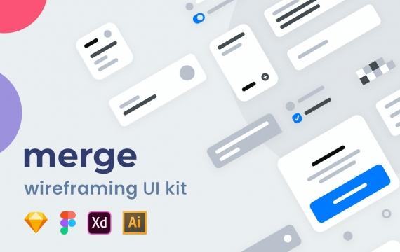 合并线框图UI套件 app原型模板素材