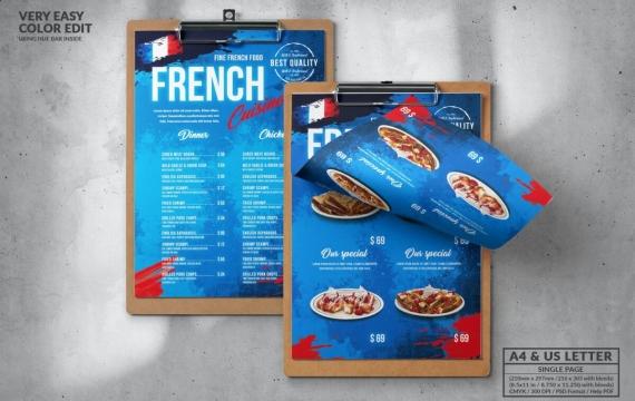 法国食品菜单设计模板A4和美国字母