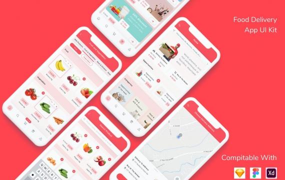 送餐应用UI套件外卖app模板下载