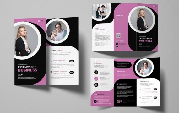 女性企业灯笼小册子 三折页设计素材模板下载