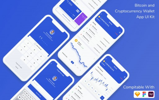 比特币和加密货币钱包应用程序UI套件金融app模板