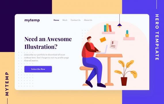 Mytemp-工作 在家办公网页banner插画素材下载