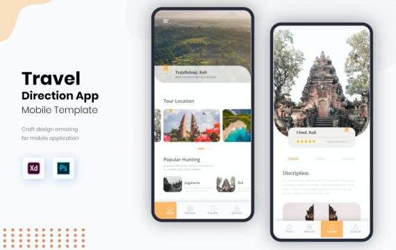 旅行方向用户界面移动套件旅游app模板素材