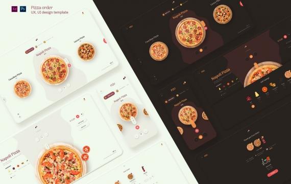 Pizu-披萨订单UX,xd素材UI设计模板下载