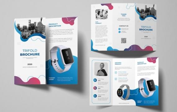 Smartwatch三折小册子 三折页设计素材模板下载