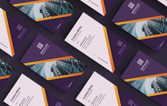 紫色商务名片模板下载
