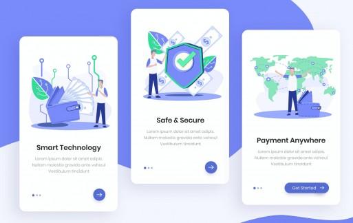 智能钱包入职应用程序金融app设计模板插画引导页面