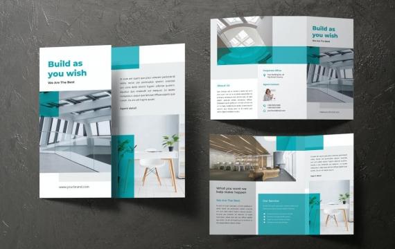 建筑三折小册子 三折页设计素材模板下载
