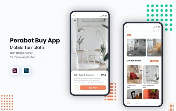分区极简主义交付UI移动工具包家具app模板素材