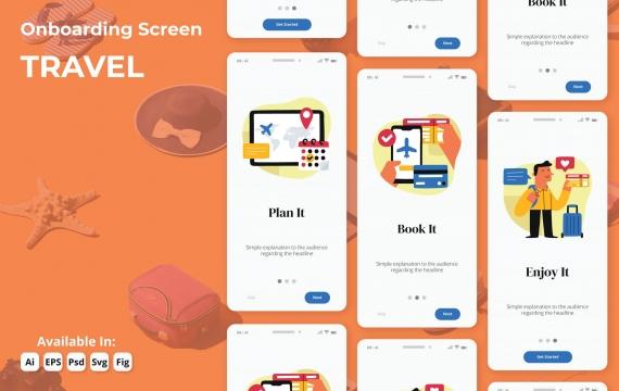 轻松预订旅行登机app模板素材插画引导页面