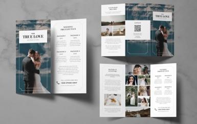 婚礼灯笼小册子 三折页设计素材模板下载