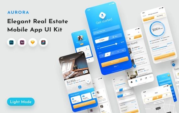 Aurora房地产UI套件 UI素材下载