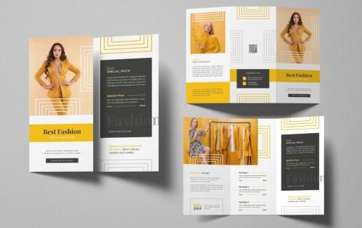 时尚商店三折小册子 三折页设计素材模板下载