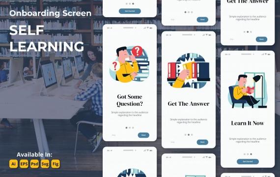 电子学习教育研习画面app模板素材插画引导页面下载