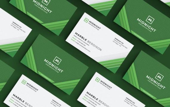 绿色背景图案名片设计模板素材下载