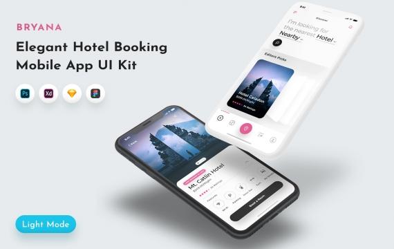 布里亚纳酒店预订应用程序UI套件 酒店预订App UI素材下载