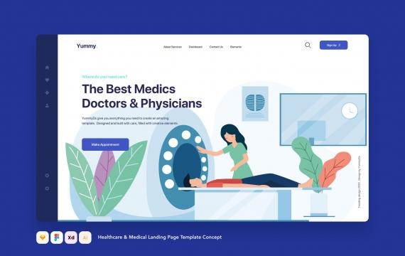 医疗保健和医疗着陆页模板概念网页banner图-04