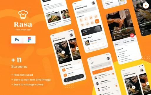 Rasa-食物食谱iOS应用app模板设计UI素材下载