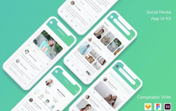 社交媒体应用UI套件聊天软件app模板