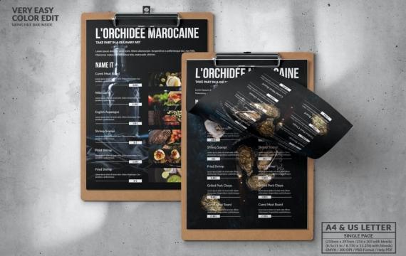 典雅的深色食物菜单设计模板A4和美国字母