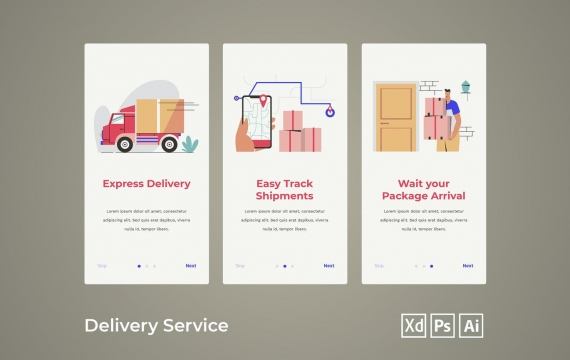 入职屏幕-送货服务ui素材引导页面