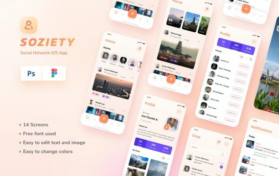 Soziety-社交网络iOS应用程序app设计模板psd下载