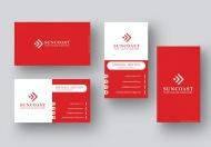 红色名称水平和垂直商务名片模板
