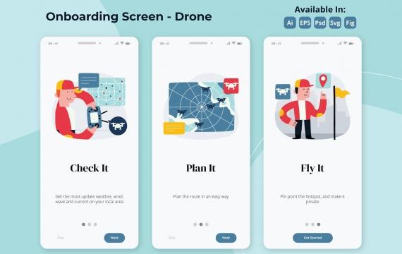 无人机飞行应用程序 无人机APP引导页面插画ui素材下载