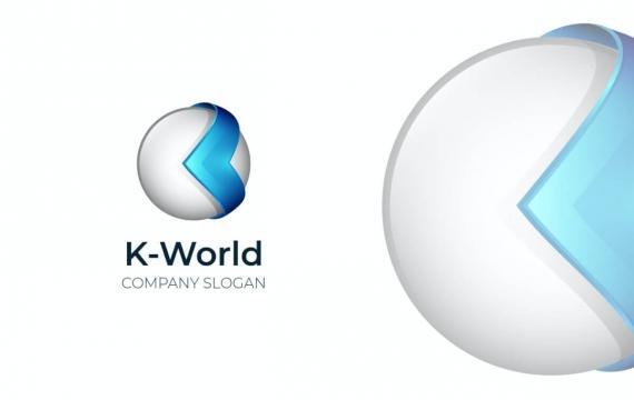 字母K世界3D logo设计