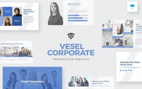 Vesel Corporate-主题演讲蓝色Keynote模板下载