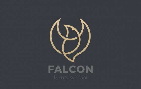 徽标飞翔飞翔的鸟鹰猎鹰线性风格logo