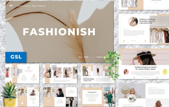 Fashionish-样式Googleslide模板