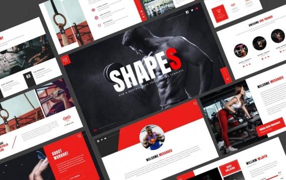 Shapes-健身房与健美PowerPoint模板