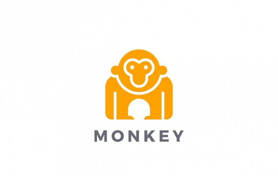 徽标猴子大猩猩动物剪影logo设计