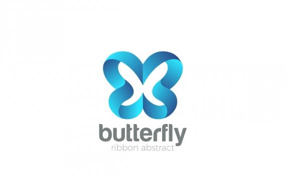 徽标蝴蝶抽象丝带风格logo
