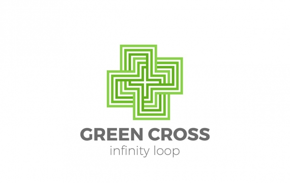 Cross Plus标志设计线性无限循环样式logo