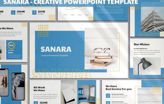 Sanara-蓝色创意PowerPoint模板