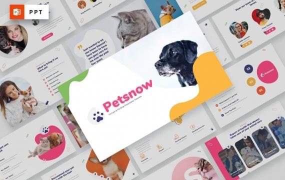 Petsnow-宠物护理和宠物店PowerPoint模板