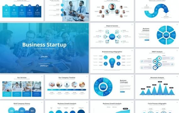 业务启动蓝色主题演讲模板Keynote模板下载