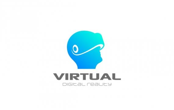 人头上的徽标虚拟现实VR头盔logo设计