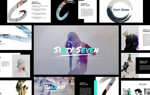 六十七-创意画笔PowerPoint模板