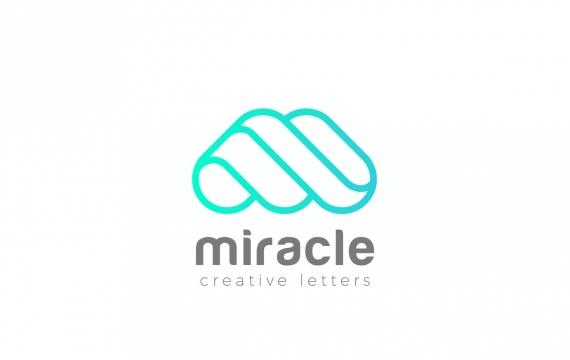 徽标M字母抽象线性风格LOGO