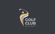 徽标高尔夫俱乐部球员击中球logo