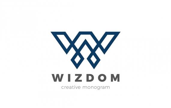 徽标字母W线性豪华设计风格logo
