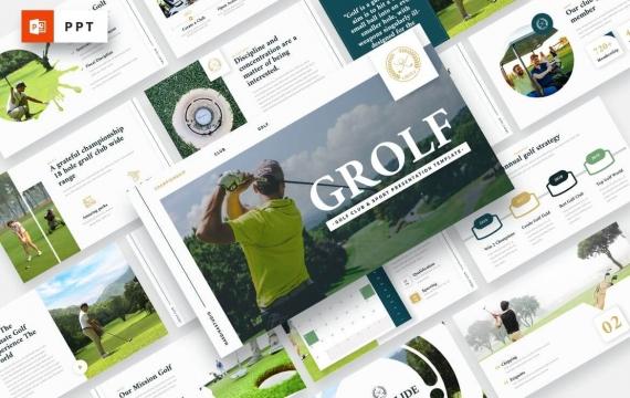 GROLF-高尔夫俱乐部和体育PowerPoint模板