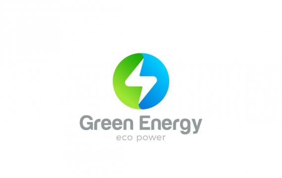 徽标闪光圆圈形状绿色能源电源LOGO