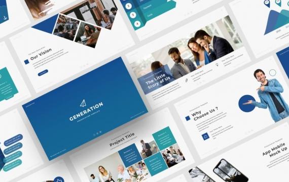 蓝色Powerpoint模板