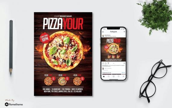 披萨菜单海报传单设计模板