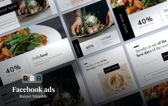 Facebook简约广告设计模板